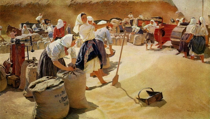 Татьяна Яблонская «Хлеб»  Холст, масло. 201 × 370 см  1949 г. Государственная Третьяковская галерея