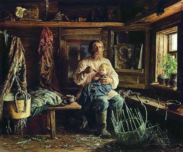 «Слепой хозяин» 1884 г. Холст, масло. Государственный Русский музей