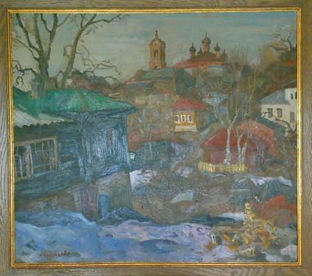 Суровцев А. П. «Овраг в Касимове»  1980-е гг. Оргалит, масло. 75 x 85 см