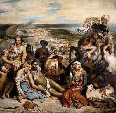 Эжен Делакруа «Резня на Хиосе»  1824 г. Холст, масло. 419 × 354 см Лувр, Париж, Франция
