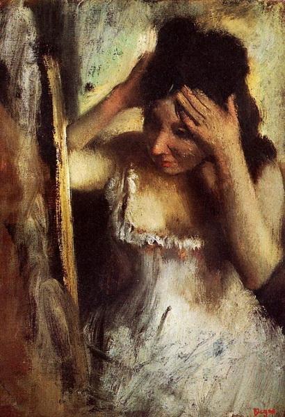 Эдгар Дега «Женщина расчёсывает волосы перед зеркалом»  1877 г.  Norton Simon Museum, Pasadena, CA, USA