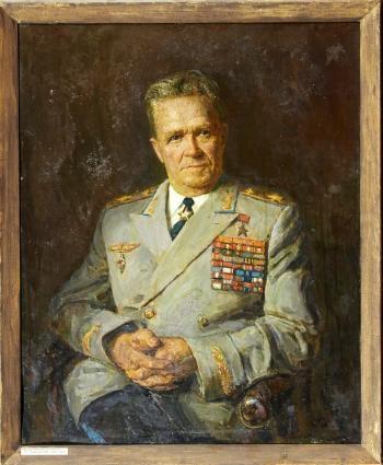Портрет маршала авиации Руденко С.И.  1966 г. картон, масло. 90 х 73 см