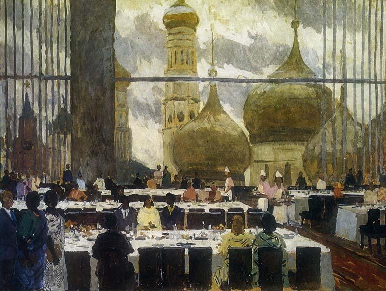 М.Ф. Володин  «В перерыве между заседаниями» Картон, темпера. 75х100 см, 1962 г.