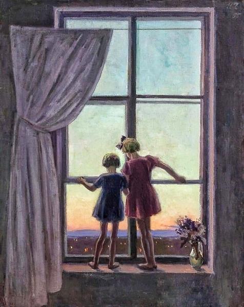 Чернышёв Николай Михайлович (1885-1973) «Летом в городе» Холст, масло. 1955 г.