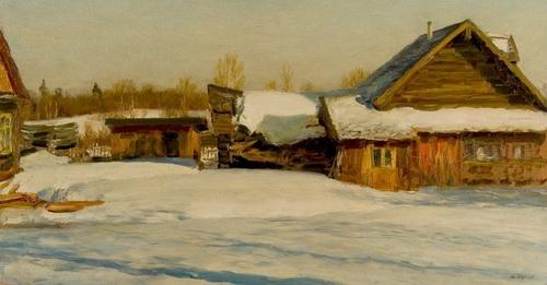 Ю.П. Кугач «Зимний день»  Картон, масло. 55х71 см 1971 г.