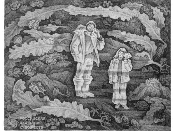 Рустам Исмаилович Яушев Из серии «Камчатские пейзажи» «Шум моря» офорт 55х70 см