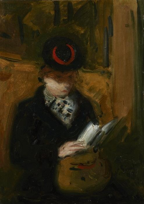 Н. Синезубов «Читающая женщина в метро» 1943 г. Холст, масло. 33,5х24 см