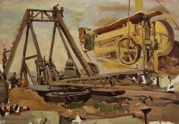 В.Г. Гремитских 'Стройка Куйбышевской ГЭС. Эскизы.'  картон, масло; 33,5х44; 1952 год