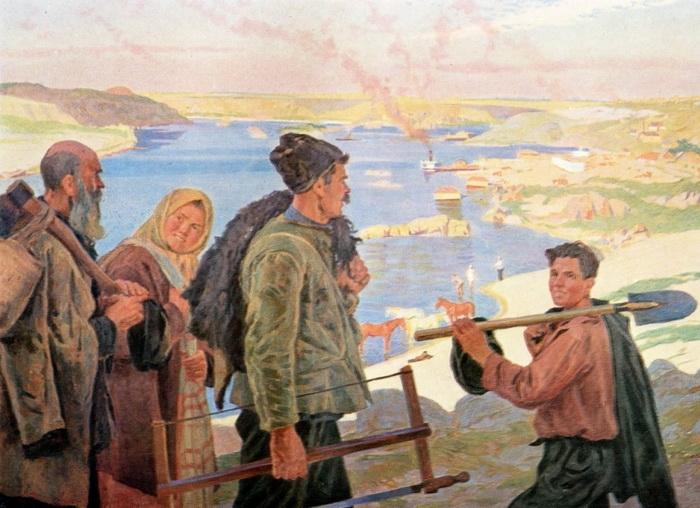 К.Д. Трохименко «Кадры Днепростроя» Холст, масло. 1934 —1937 годы