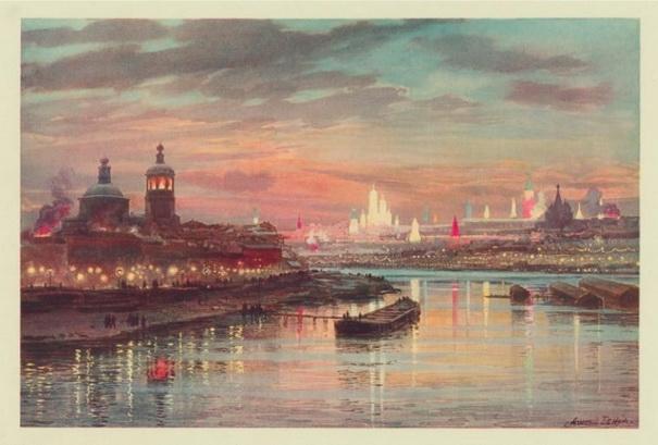 Альберт Николаевич Бенуа «Коронация Николая II, иллюминация в Москве» 1896 г.