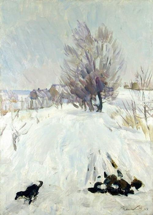 Виктор Григорьевич Цыплаков «Зимка»  Картон, масло. 70х49 см 1964 г.