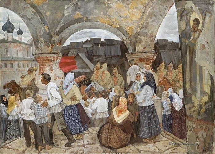 А.А. Жабский «Новый мир построим» Холст, масло. 1969-1970 гг.