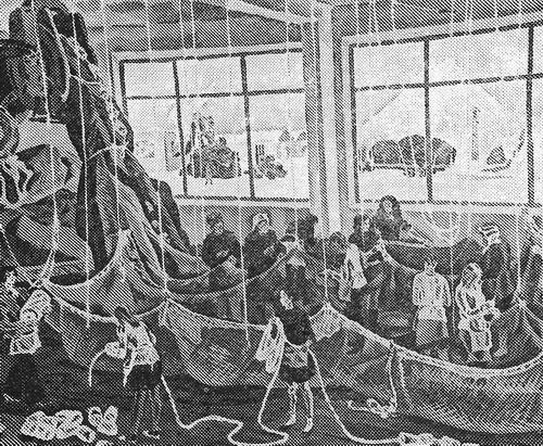 Рустам Исмаилович Яушев «Шьют сети» из серии «У рыбаков Камчатки» 1978 г.