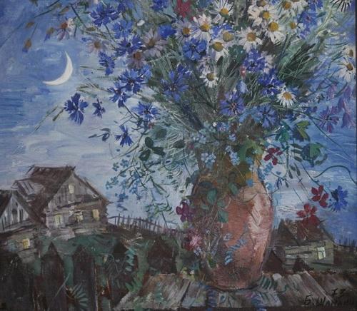 Б.И. Шаманов «Букет в летнюю ночь», 1973 год, холст, масло, частное собрание.