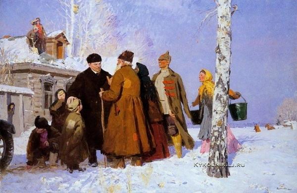 Виктор Григорьевич Цыплаков «В.И. Ленин с крестьянами»  Холст, масло. 1959 г.