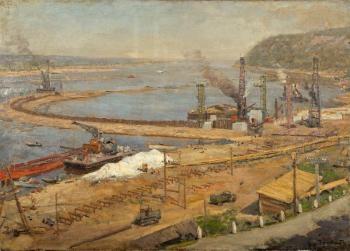 Строительство Куйбышевской ГЭС. 1953 г. Холст, картон, масло. 71х96 см