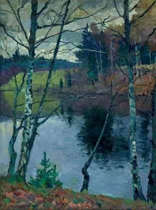 Иван Сергеевич Сошников «Осенняя река» 100х75 х.м. 1963 г.