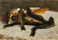 В.Г. Гремитских «Натюрморт с рыбой»  Картон, масло. 50х70 см  1968 г.