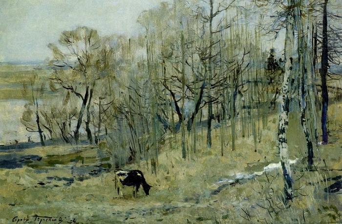 С.В. Герасимов. Последний снег. Картон, масло. 50х70 см. 1954 г.