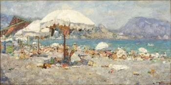 Пляж. Гурзуф. 1960 г. Холст, масло. 43х84 см