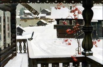 Борис Николаевич Поморцев. Снег выпал. 1975 г.  Плита твёрдая, темпера. 79,5х119 см  Музей изобразительных искусств Республики Карелия.