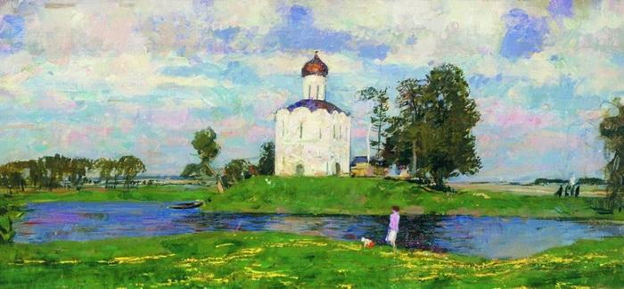 С.В. Герасимов. Церковь Покрова на Нерли. Холст, масло. 1953 г.