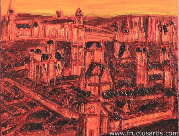 Алоизас Стасюлявичюс. Вильнюсский мотив с Воротами Аушрос. 2010 г. Полотно, акрил. 80 x 100