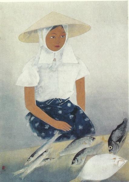 Догю Окумура «Девушка на утреннем базаре картина 90,5хб5,3  1969 г.
