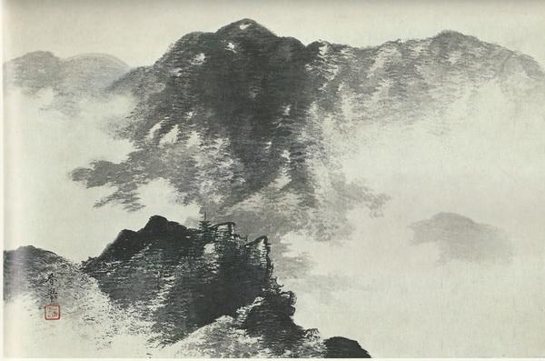 Сюнкё Ямамото  «Летняя гора в дымке» свиток 54,4х78,4