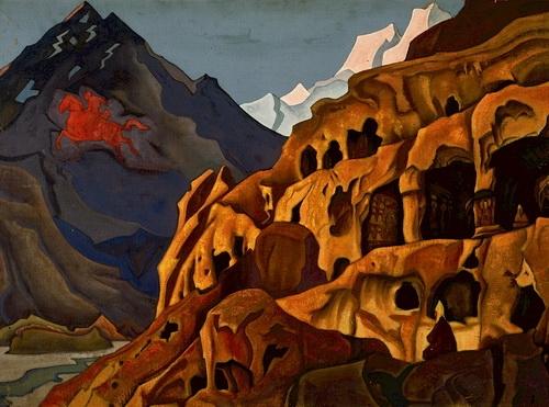 Николай Рерих «Мощь пещер», Из серии «Майтейя» 1925 г. Холст, темпера, 72.5 x 100.9 см Нижегородский государственный художественный музей.