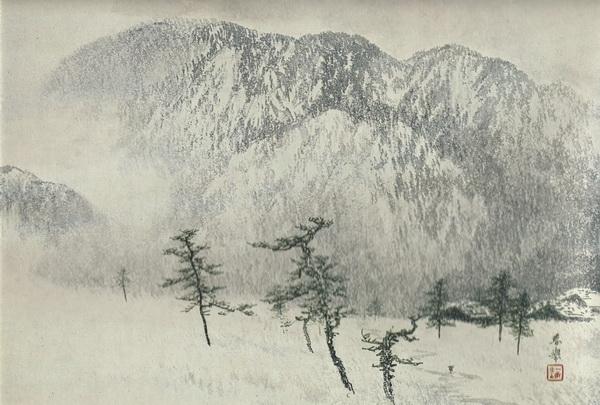 Сюнкё Ямамото  «Снежная зимняя гора» свиток 54,4х78,4
