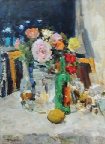 Розы. 1985 год. двп, масло. 66х50 см