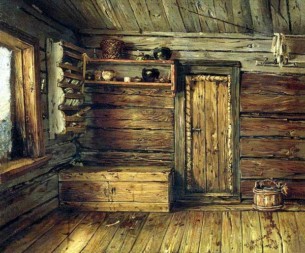 «Внутренний вид избы» 1869 г. Холст, масло. Государственный Русский музей