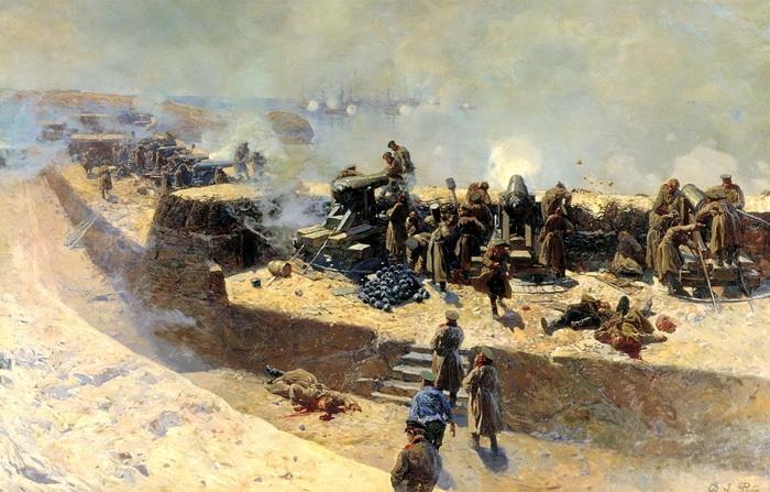 Ф. Р у б о  «Отражение бомбардировки англо-французского флота со стороны Александровской батареи 5 октября 1854 года. Севастополь.»